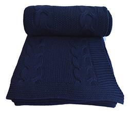 Aztocratic Xochitl 100% Cotton Knitted Navy Blue Throw, Prem