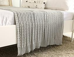 NEW YEAR SALES!100% All Cotton Knit Throw for Sofa Classic C