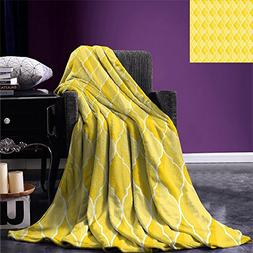 smallbeefly Yellow Throw Blanket Ancient Moroccan Trellis Pa