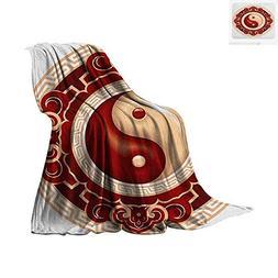 Ying Yang Digital Printing Blanket Traditional Asian Cultura