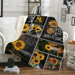 You Are My Sunshine Sunflower Sherpa Fleece <font><b>Throw</