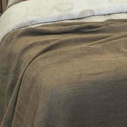 YUE Home Textile Twin-size Linen Waffle Blanket Dune Twin