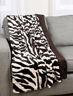 Zebra Print Plush Faux Fur Micromink Brown & White Super Sof